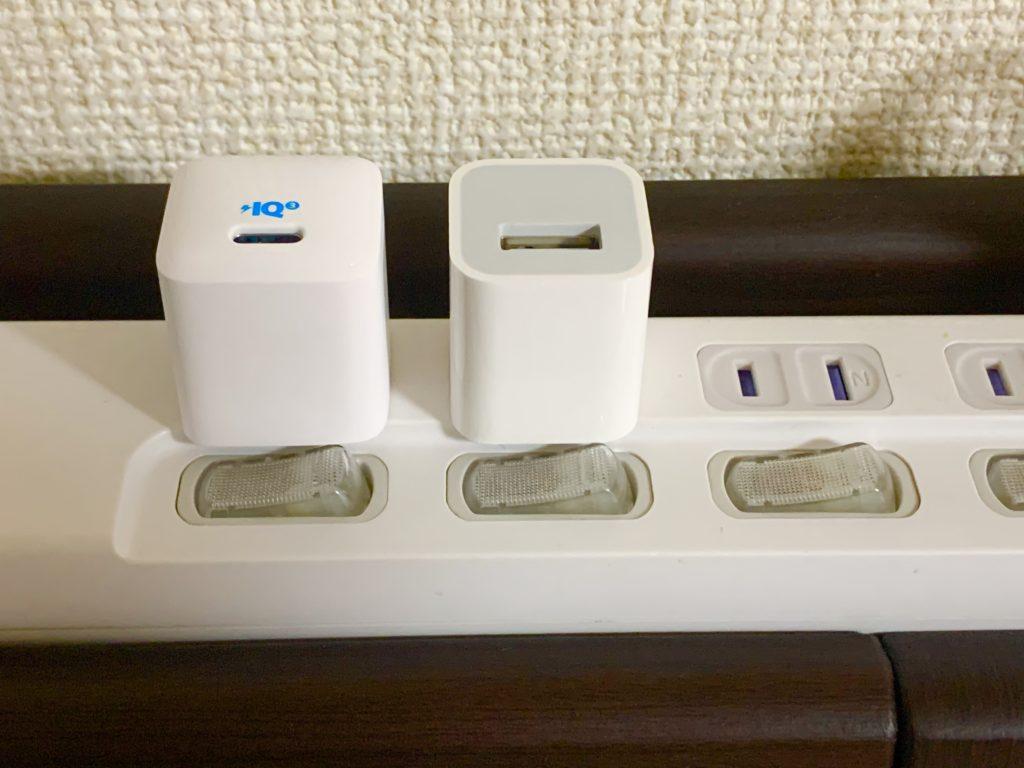 マルチタップと充電器比較