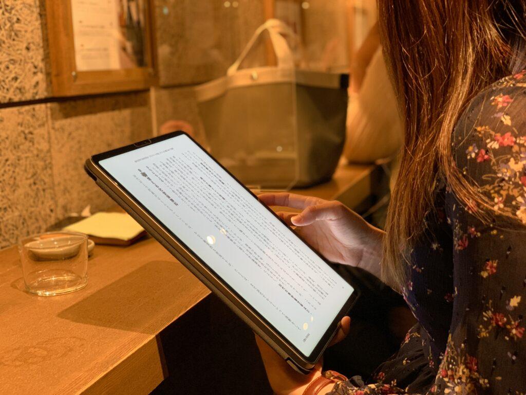 iPad Pro12.9インチ_読書_手持ちのサイズ感
